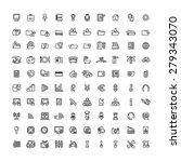 one hundred black outline... | Shutterstock .eps vector #279343070