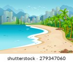 Ocean Scene With City Background