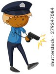 closeup policeman shooting with ... | Shutterstock .eps vector #279347084