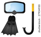 Glossy vector illustration of some scuba diving equipment - stock vector