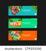 set of banners with stickers ... | Shutterstock .eps vector #279353330