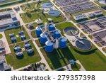 Aerial View Of Sewage Treatmen...