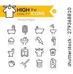 Stock vector high quality cleaning and hygiene line icons 279368810