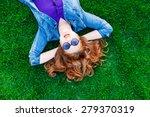 beautiful redhead women lying... | Shutterstock . vector #279370319