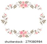 floral frame with pink roses...   Shutterstock .eps vector #279380984