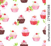 chocolate and strawberry... | Shutterstock .eps vector #279385388