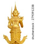 Small photo of Golden god Phra Siam Dhava Thirat the security guard of Thailand, cilpping path.