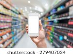 female hand holding mobile... | Shutterstock . vector #279407024