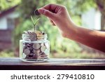 hand putting money coins  with... | Shutterstock . vector #279410810