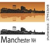manchester skyline in orange... | Shutterstock .eps vector #279413648