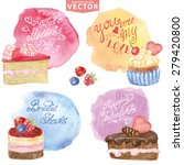 watercolor set of sweet cakes... | Shutterstock .eps vector #279420800