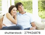 young couple relaxing on cane... | Shutterstock . vector #279426878