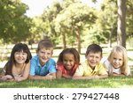 group of children laying in park | Shutterstock . vector #279427448