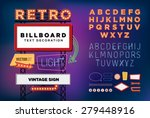 vector set retro neon sign ... | Shutterstock .eps vector #279448916