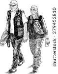 elderly couple of tourists | Shutterstock .eps vector #279452810