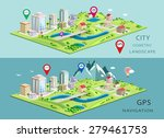 isometric landscapes with city... | Shutterstock .eps vector #279461753