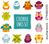 colorful vector owls set.... | Shutterstock .eps vector #279480350