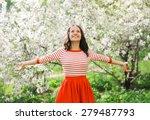 beautiful happy young woman... | Shutterstock . vector #279487793