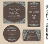 vintage wedding invitation... | Shutterstock .eps vector #279502739