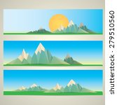 low poly mountains web banners | Shutterstock .eps vector #279510560
