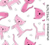 Seamless Pink Cat Pattern...