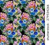 summer watercolor garden... | Shutterstock . vector #279534266