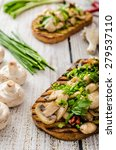 toast with mushrooms and fried... | Shutterstock . vector #279537110