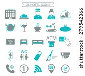25 hotel services icons. color... | Shutterstock .eps vector #279542366
