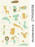 Cute Zoo Alphabet In Vector. A...