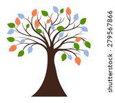 decorative tree silhouette  | Shutterstock .eps vector #279567866