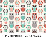 seamless owls and flowers... | Shutterstock .eps vector #279576218