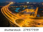 aerial view of city at sunset.... | Shutterstock . vector #279577559