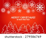 christmas greeting card with... | Shutterstock . vector #279586769