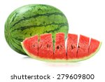 watermelon and slice isolate on ... | Shutterstock . vector #279609800