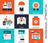 vector set of flat shopping and ... | Shutterstock .eps vector #279629726