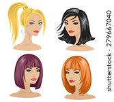 four isolated women's portraits ... | Shutterstock .eps vector #279667040
