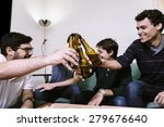 friends with pizza and bottles... | Shutterstock . vector #279676640