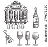 iron cast wine holder  bottles... | Shutterstock . vector #279678230