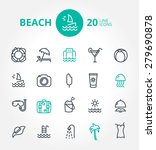beach vector icon set | Shutterstock .eps vector #279690878