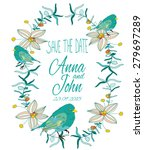 colorful wedding invitation... | Shutterstock .eps vector #279697289
