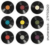 vinyl records with colorful... | Shutterstock .eps vector #279702620