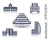 hotel buildings flat design web