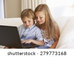 two young children using laptop ... | Shutterstock . vector #279773168