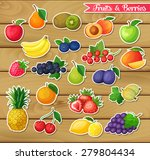 stickers with fruits and... | Shutterstock .eps vector #279804434
