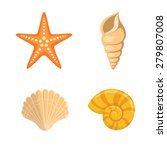 Sea Shells Symbols Collection.