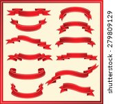 set of ribbons vector   red | Shutterstock .eps vector #279809129