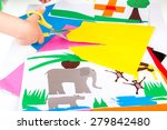 child doing cutouts | Shutterstock . vector #279842480