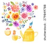 cute tea time card watercolor | Shutterstock . vector #279849788