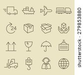 logistics line icon set