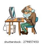 Granddad Is Studying Computer...